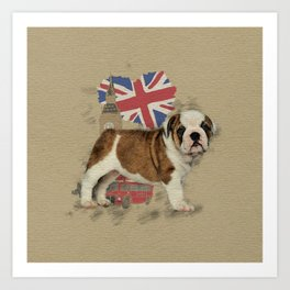 English Bulldog Puppy Sketch Art Print