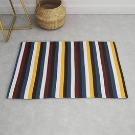 Classic Vertical Contrasted Boho Hipster Stripes  Rug