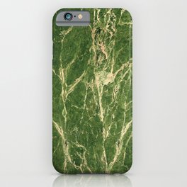 Green abstract grunge marble iPhone Case