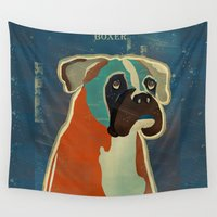 philosophy Wall Tapestries featuring the boxer by bri.buckley