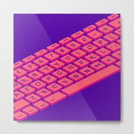 Pixel Keyboard (Very Berry) Metal Print