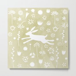 Hare in the Meadow Metal Print