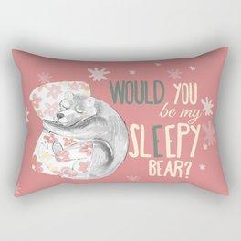 Would you be my sleepy bear? Pink Rectangular Pillow