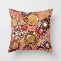 brown Throw Pillows featuring brown by Kras Arts - Fly Me To The Moon