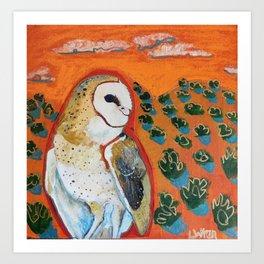 Barn Owl and Orange Art Print