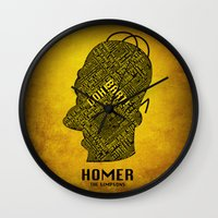 homer Wall Clocks featuring Homer by Matthew Cridland