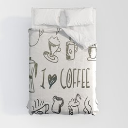 I Love Coffee Comforters