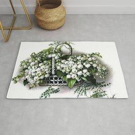 Vintage Lily of the Valley Flower Basket Rug