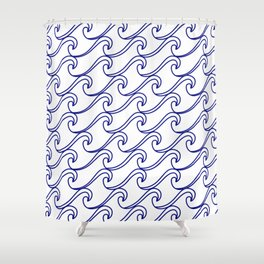 rough sea pattern blue on white shower curtain