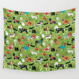 Dogs halloween costumes cute pumpkin ghost skeleton witch trick or treat Wall Tapestry