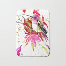 Little Hummingbird and Tropical Flowers Bath Mat