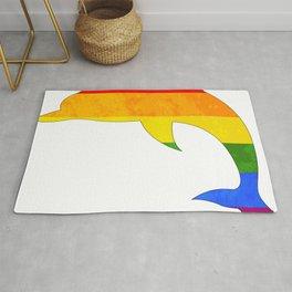 Dolphin in rainbow colour Gay Rug