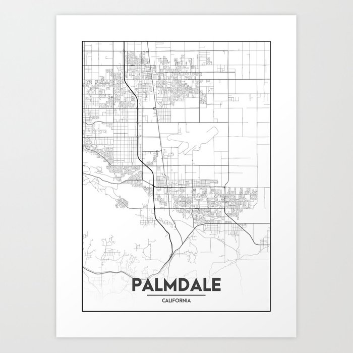 Minimal City Maps - Map Of Palmdale, California, United States Art Print by  valsymot