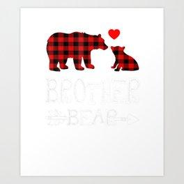 Red Plaid Brother Bear Christmas Pajama Matching Family Gift T Shirt Art Print