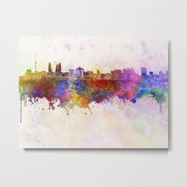 Baku skyline in watercolor background Metal Print
