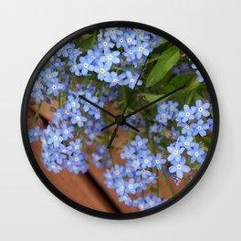 Little Blue Flowers in a Pot Wall Clock
