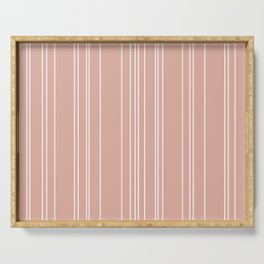 dusky pink with white stripes Serving Tray
