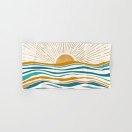 The Sun and The Sea - Gold and Teal Hand & Bath Towel