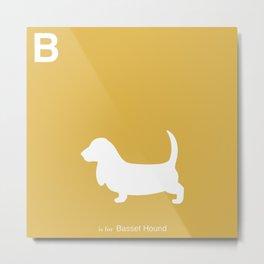 Basset Hound   Dogs series   Mustard Yellow Metal Print