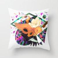 kris tate Throw Pillows featuring PAPAYA by Carboardcities and Kris tate by cardboardcities