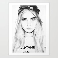 cara Art Prints featuring Cara  by Chris Samba