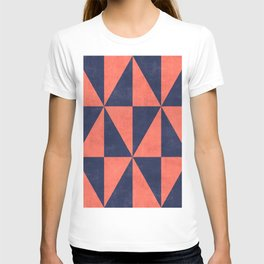 Geometric Triangle Pattern - Coral, Blue T-shirt
