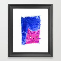 Crayon Cat Framed Art Print