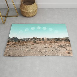 Desert Daylight Moon Ridge // Summer Lunar Landscape Teal Sky Red Rock Canyon Rock Climbing Photo Rug