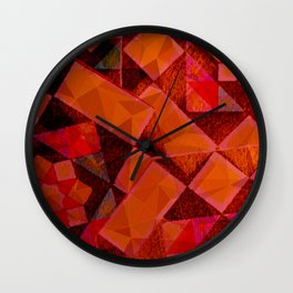 Red and Black Geometric Wall Clock