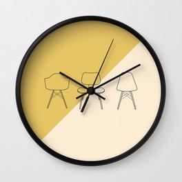 Eames Chairs // Mid Century Modern Minimalist Illustration Wall Clock
