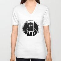 agents of shield V-neck T-shirts featuring Agents of TARDIS black and white Agents of Shield, Doctor Who mash up by Whimsy and Nonsense