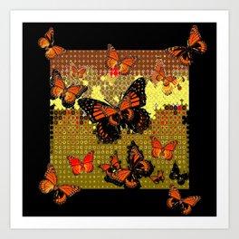 Abstracted Black & Orange Monarch Butterflies Art Print