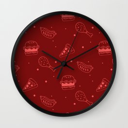 Fast Food Snacks Attack - Pizza Pie Hot Dogs Chicken Wings! on Red Wall Clock