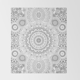 MOONCHILD MANDALA BLACK AND WHITE Throw Blanket
