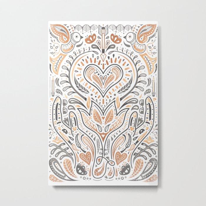Rose Gold Folklore Pattern Metal Print