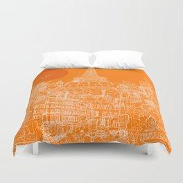 Paris! Orange Sun Duvet Cover