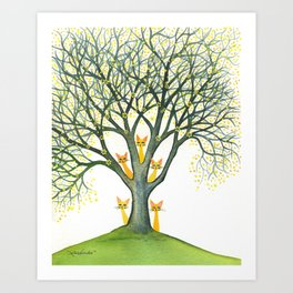 Odessa Whimsical Cats in Tree Art Print