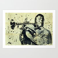 louis armstrong Art Prints featuring Louis Armstrong. by Marat Cherny