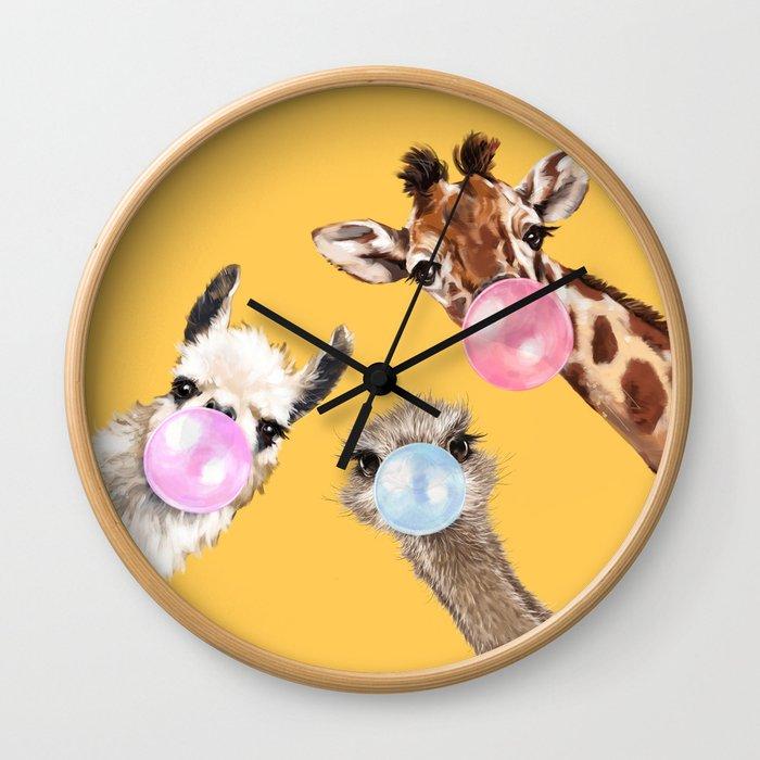 Bubble Gum Gang in Yellow Wall Clock