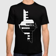 New York Never Sleeps Mens Fitted Tee Black LARGE