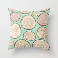 tree rings Throw Pillows featuring Tree Rings by Jackie Sullivan