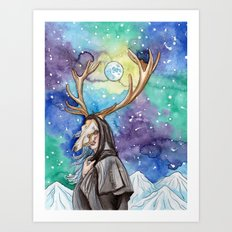 witchy moon Art Print