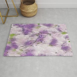 Purple - Lavender Fluffy Floral Abstract Rug
