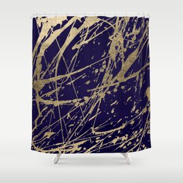 Elegant faux gold modern navy blue paint splatters Shower Curtain