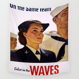 Vintage poster - Enlist in the Waves Wall Tapestry
