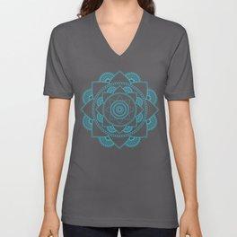 Mandala 01 - Turquoise on White Unisex V-Neck