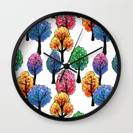Forest - Tree Pattern Illustration - Acrylic Painting Wall Clock