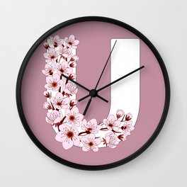 Colorful capital letter U patterned with sakura twig Wall Clock