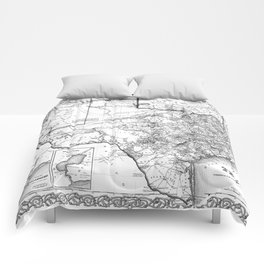 Vintage Map of Texas (1856) BW Comforters