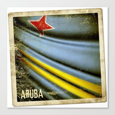 Grunge sticker of Aruba flag Canvas Print